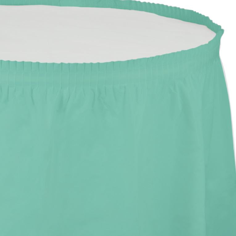 Fresh Mint Green Table Skirt Plastic 74cm x 4.26m with Adhesive Backing Strip - Each
