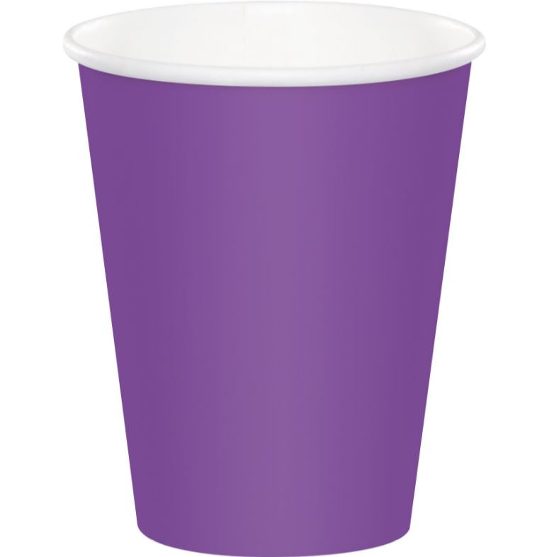 Amethyst Purple Cups Paper 266ml Hot & Cold - Pack of 24