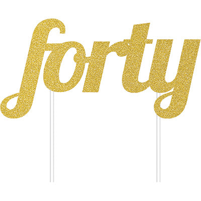 Cake Topper forty Gold Glittered  - Each