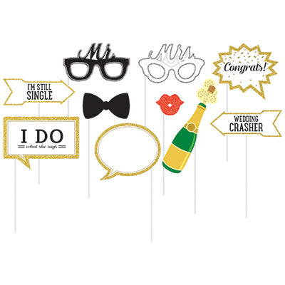 Photo Booth Props Wedding Theme Assorted Designs Glittered Cardboard & Sticks Included - Pack of 10