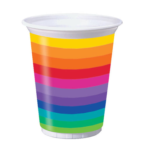 Rainbow Cups Plastic (473ml) - Pack of 8
