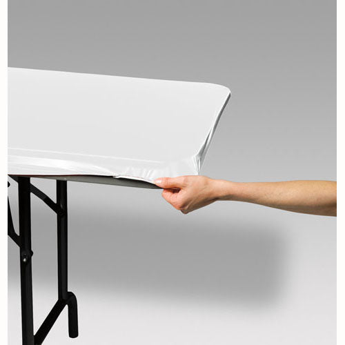 Tablecover, Plastic Stayput White, (73cm Wide x 180cm Long) - Each