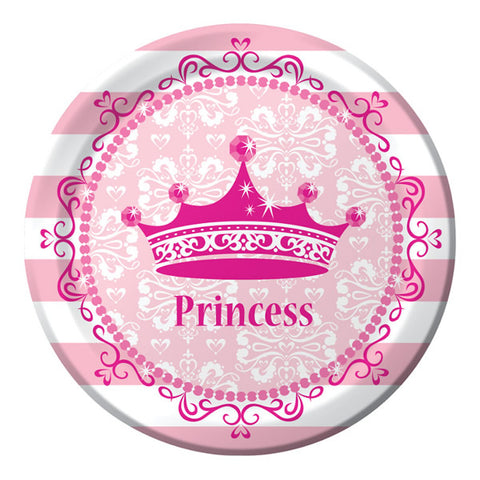 Celebrations Pink Princess Lunch Plates Royalty Paper (18cm) - Pack of 8