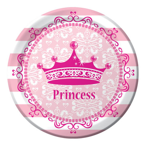 Celebrations Pink Princess Dinner Plates Royalty Paper (22.2cm) - Pack of 8