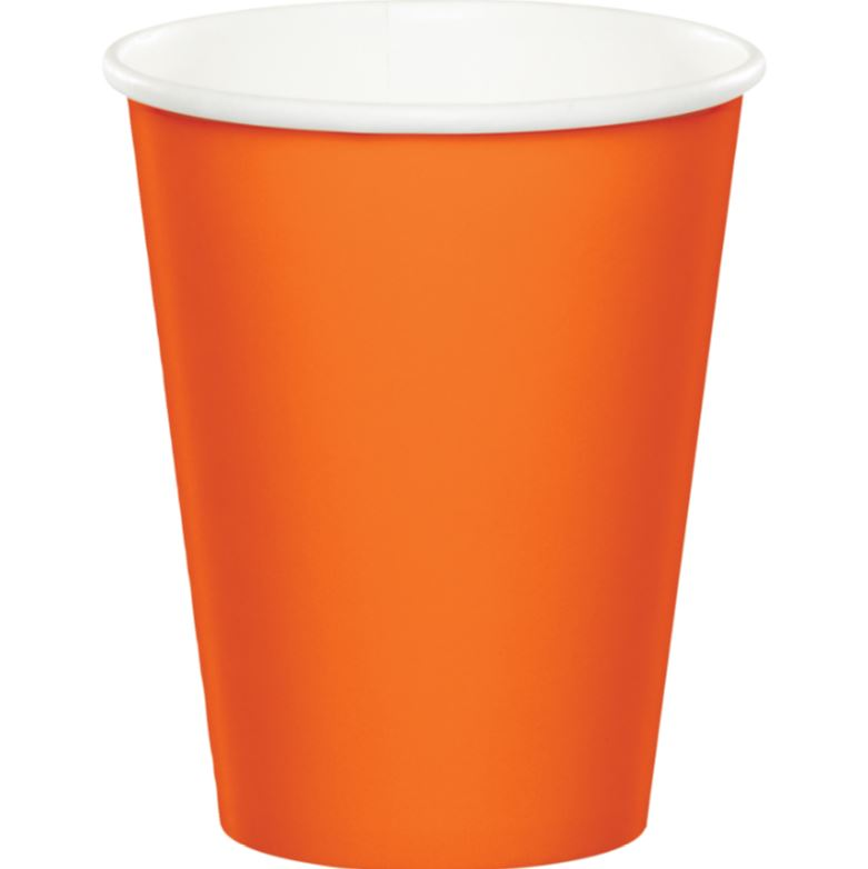 Sunkissed Orange Cups Paper 266ml Hot & Cold - Pack of 24