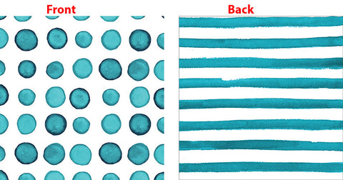 Elise Peacock Blue Beverage Napkins 3 Ply - 2 Sided Print Dots & Stripes 25cm x 25cm - Pack of 24