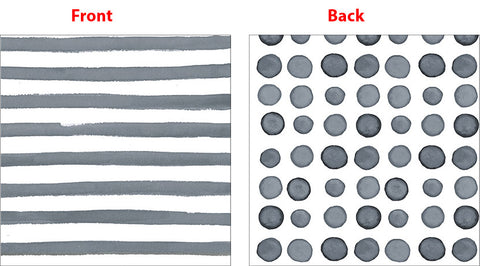 Elise Platinum Silver Beverage Napkins 3 Ply - 2 Sided Print Dots & Stripes 25cm x 25cm - Pack of 24