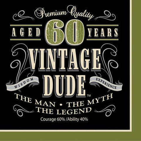 Vintage Dude 60th Birthday Luncheon Napkins,