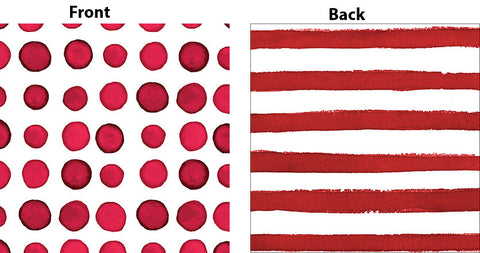Elise Garnet Red Luncheon Napkins 3 Ply - 2 Sided Print Dots & Stripes 33cm x 33cm - Pack of 16