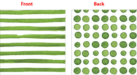Elise Verdi Green Luncheon Napkins 3 Ply - 2 Sided Print Dots & Stripes 33cm x 33cm - Pack of 16