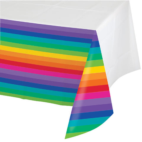 Rainbow Tablecover Plastic Border Print (137cm x 259cm) - Each