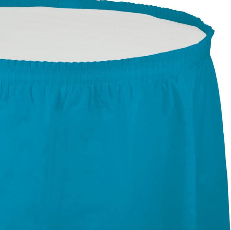 Turquoise Table Skirt Plastic 74cm x 4.26m with Adhesive Backing Strip - Each