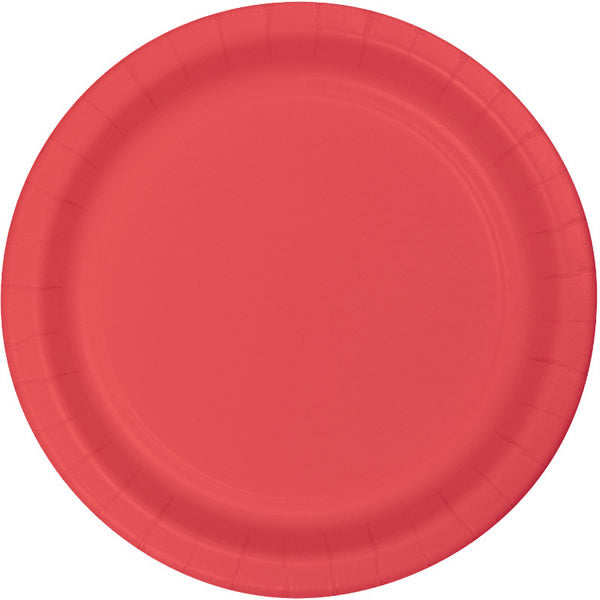 Coral Luncheon Plates Paper 18cm  - Pack of 24