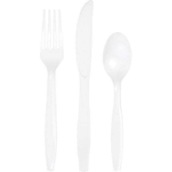 Celebrations White Cutlery Plastic Knives, Forks & Spoons - Pack of 18