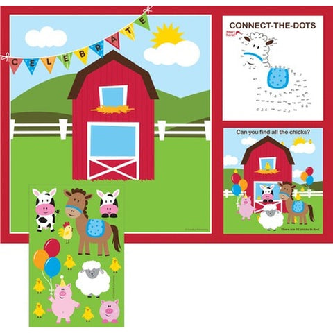Farmhouse Fun Placemats with Activity Stickers (25cm x 35cm) 8 Mats & 8 Sticker Sheets - Pack of 8
