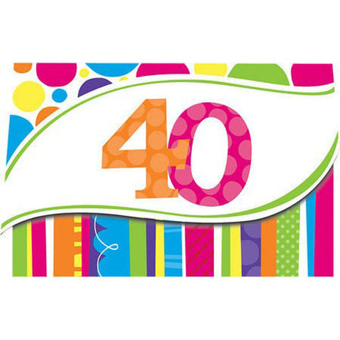 Bright and Bold 40th Birthday Invitations,