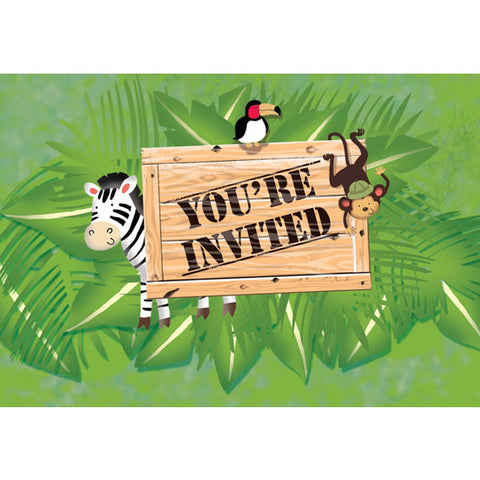 Safari Adventure Invitations Gatefold, Cardboard and is lined inside with headings for the following party details: For, Date, Time, Place, Given By and R.S.V.P. - Pack of 8