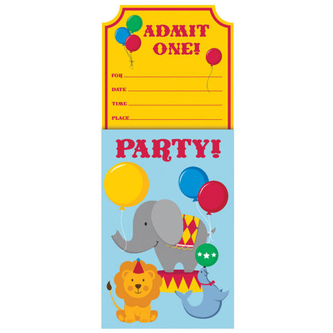 Circus Time Party Invitations Admit One! Pop Up Design with Envelopes - Pack of 8