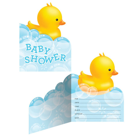 Bubble Bath Baby Shower Invitations & Yellow Envelopes - Pack of 8