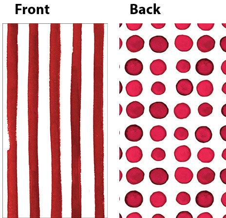 Elise Garnet Red Guest Towels Napkins 3 Ply - 2 Sided Print Dots & Stripes 26cm x 40cm - Pack of 16