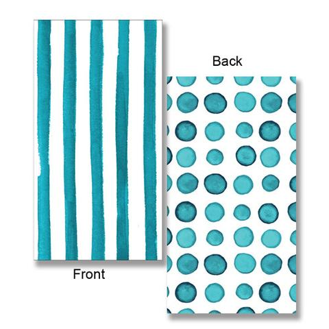 Elise Peacock Blue Guest Towels Napkins 3 Ply - 2 Sided Print Dots & Stripes 26cm x 40cm - Pack of 16
