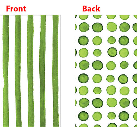 Elise Verdi Green Guest Towels Napkins 3 Ply - 2 Sided Print Dots & Stripes 26cm x 40cm - Pack of 16
