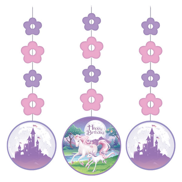 Unicorn Fantasy Hanging Cutouts 92cm Cardboard - Pack of 3