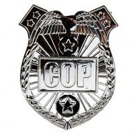 Police Cop Badge Silver 8cm x 6cm Each