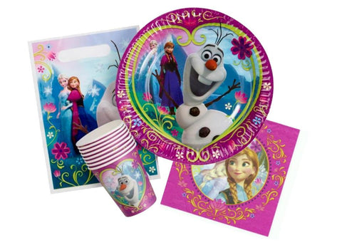 Frozen Party Pack 40 pieces Includes 8 x cups, 8 x plates, 8 x loot bags & 16 x napkins. - Each