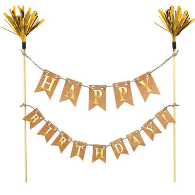Cake Topper Happy Birthday Gold Banner Kit 22cm Wooden Picks wth Gold Foil Tops & Cardboard Embossed Gold Banners on String - Each