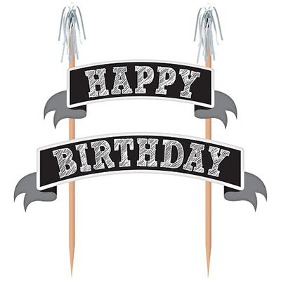 Cake Topper Happy Birthday Chalkboard Banner Kit 22cm Wooden Picks wth Silver Foil Tops & Cardboard Banners (Some Assembly Required) - Each