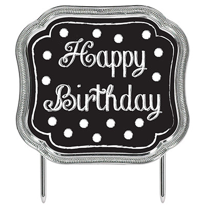 Cake Topper Happy Birthday Black & White Dots Metallic Silver Look Border 11cm x 13cm - Each