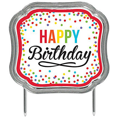 Cake Topper Happy Birthday Colourful Dots Metallic Silver Look Border 11cm x 13cm - Each