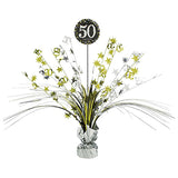 Sparkling Black 50 Happy Birthday Centrepiece 45cm Black, Silver & Gold Foil - Each