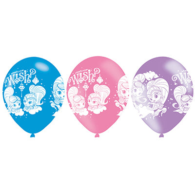 Shimmer & Shine Latex Balloons What's Your Wish? 30cm Pink, Blue & Purple - Pack of 6