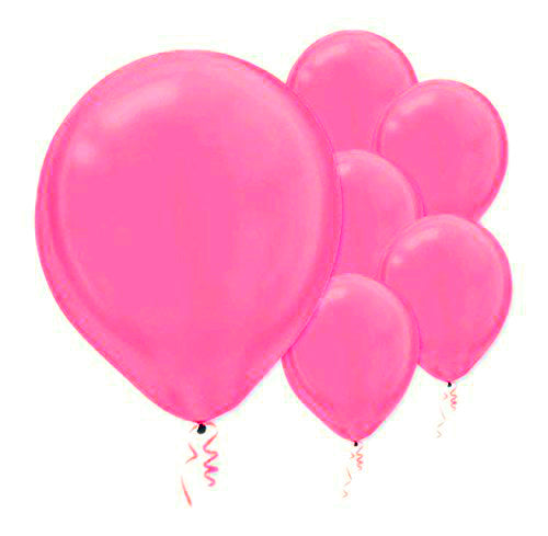 28cm Pearl Bright Pink Latex Balloons 15PK  - Pack of 15