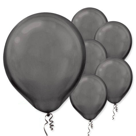 28cm Pearl Black Latex Balloons 15PK  - Pack of 15