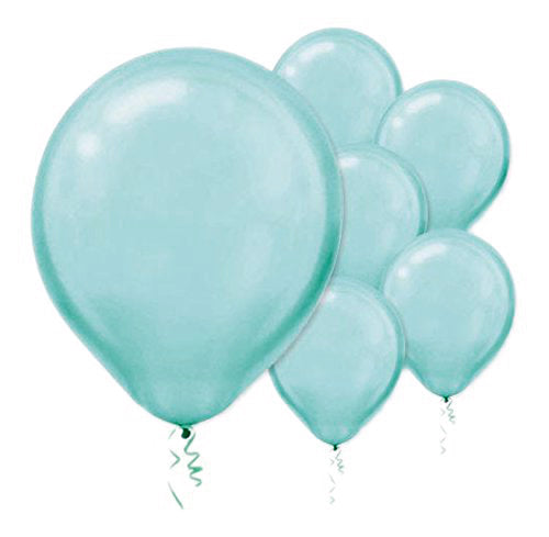 28cm Pearl Robin's Egg Blue Latex Balloons 15PK  - Pack of 15