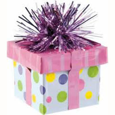 Balloon Weight Gift Box Pink (180g) 5.6cm Wide x 4.5cm High - Each