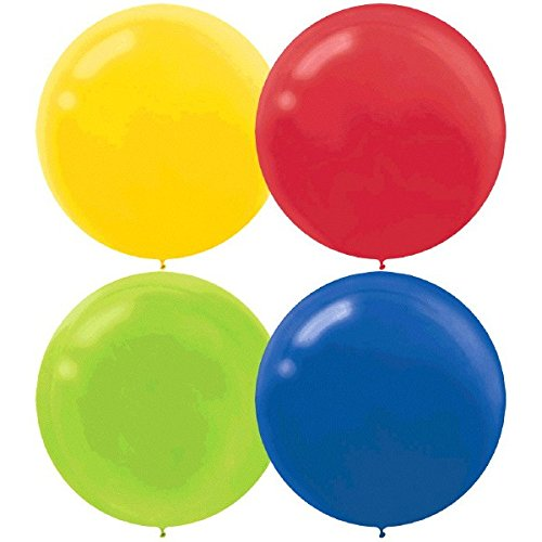 60cm Primary Assortment Latex Balloons Yellow, Red, Lime Green & Royal Blue - Pack of 4