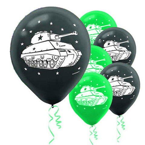 Camouflage Latex Balloons Army Tanks 30cm - Pack of 6