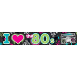 Totally 80's Foil Banner, 7.6 Metres Long x 13cm High - Each