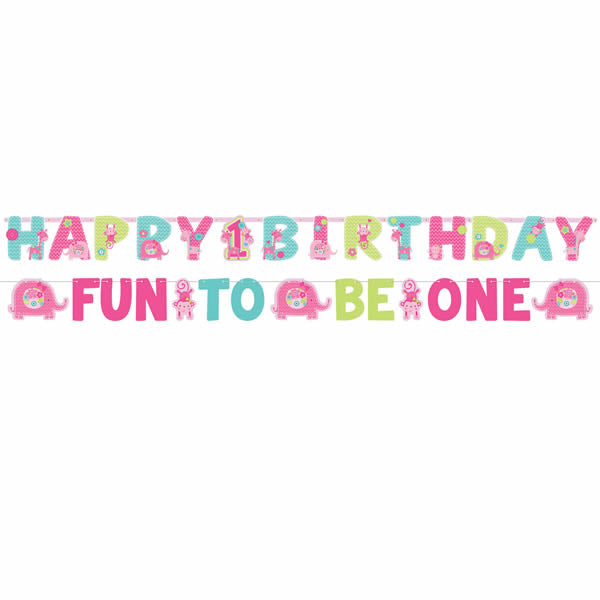 One Wild Girl Jumbo Letter Banner Kit 1st Birthday ( 1 x 25cm x 3.2m Large Letter Banner & 1 x 10cm x 1.82m Small Banner) Cardboard - Pack of 2