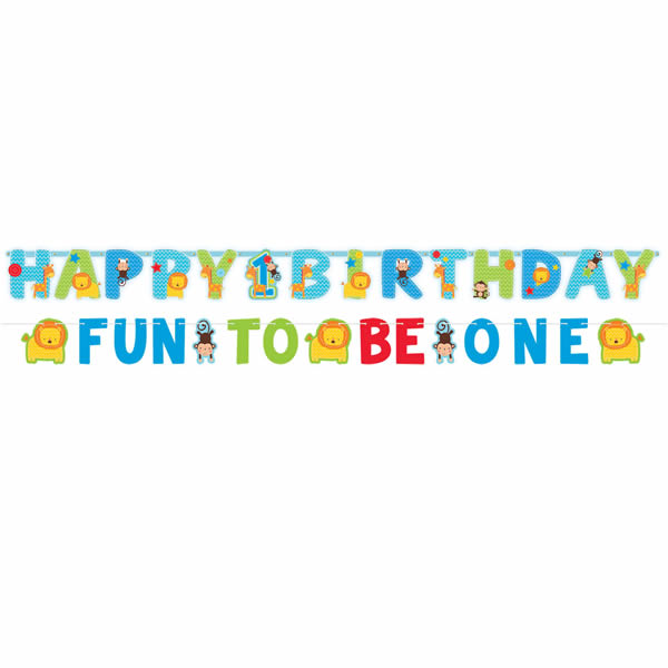 One Wild Boy Jumbo Letter Banner Kit 1st Birthday ( 1 x 25cm x 3.2m Large Letter Banner & 1 x 10cm x 1.82m Small Banner) Cardboard - Pack of 2