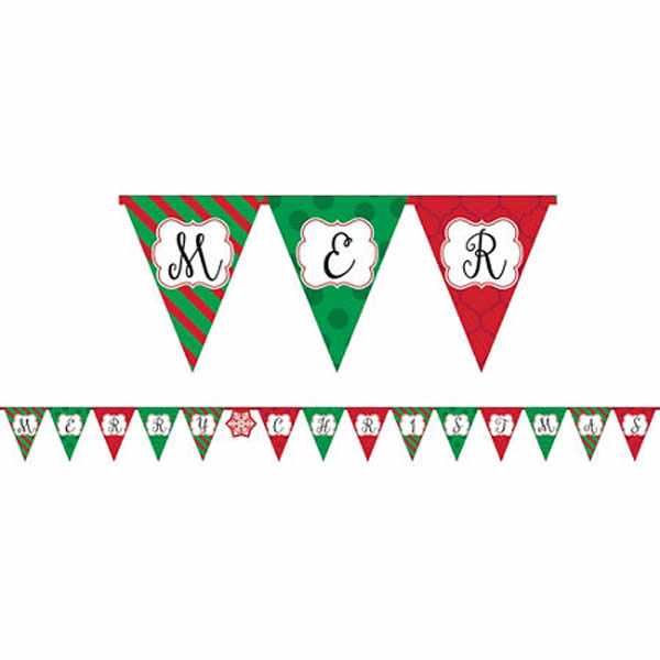 Pennant Banner Merry Christmas Glossy Paper 380cm x 85cm - Each
