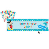 Mickey 1st Birthday Banner Fun To Be One Plastic 165cm x 51cm & Personalized with 120 Adhesive Letters & Numbers & Eyelets - Each