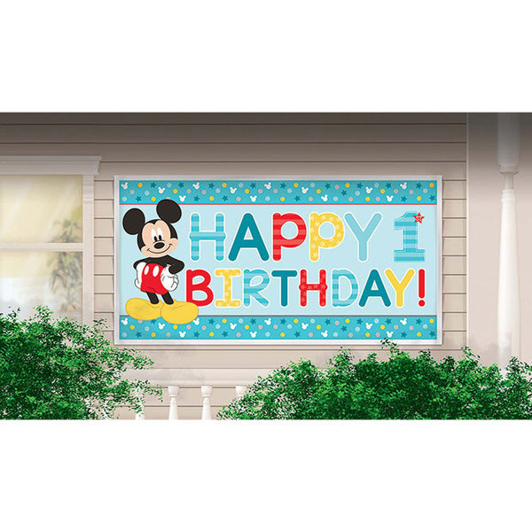 Mickey Happy 1st Birthday Banner Fun To Be One Plastic 85cm x 165cm - Each