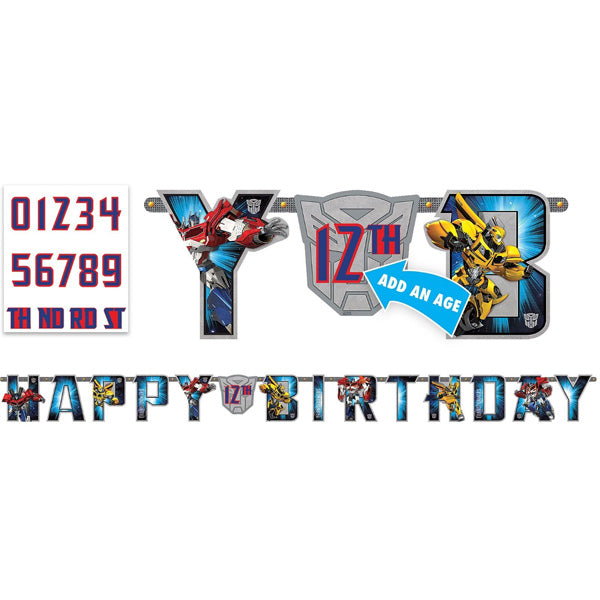 Transformers  Jumbo Add on Age Letter Banner Measures 3.2 Metres Long x 25.4 High. Includes numbers to suite any age (2 x 0,1,2,3,4,5,6,7,8,9 and 1 x TH, RD, ND, ST) and 5 pieces of double sided tape. - Each