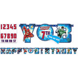 Justice League Add An Age Banner Happy Birthday Measures 3.2 Metres Long x 25.4cm High. Includes numbers to suit any age (2 x 0,1,2,3,4,5,6,7,8,9, and 1 x TH,RD,ND,ST) and 5 pieces of double sided tape. - Each