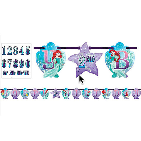 Ariel Dream Big Add an Age Banner Little Mermaid Happy Birthday Measures 3.2 Metres Long x 25.4cm High. Includes numbers to suit any age (2 x 0,1,2,3,4,5,6,7,8,9, and 1 x TH,RD,ND,ST) and 5 pieces of double sided tape. - Each